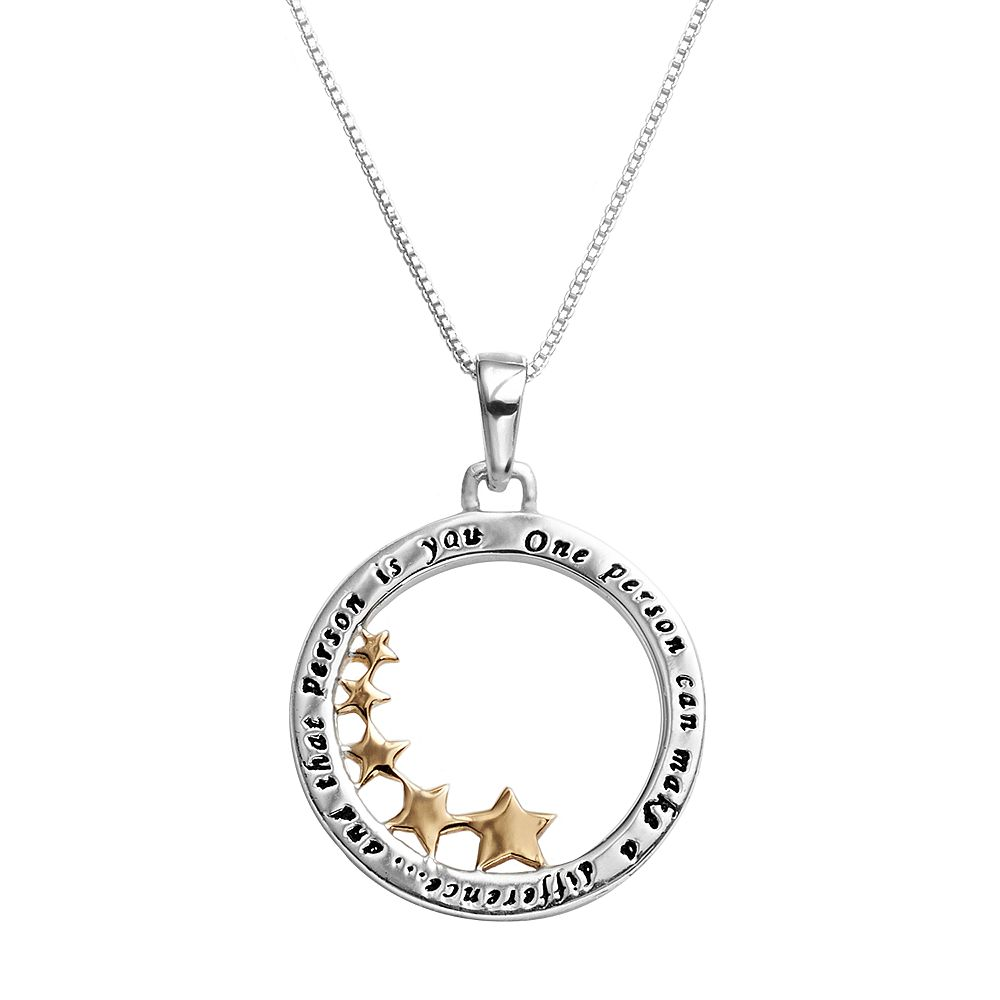 Timeless sterling silver two tone inspirational star pendant aloadofball Choice Image