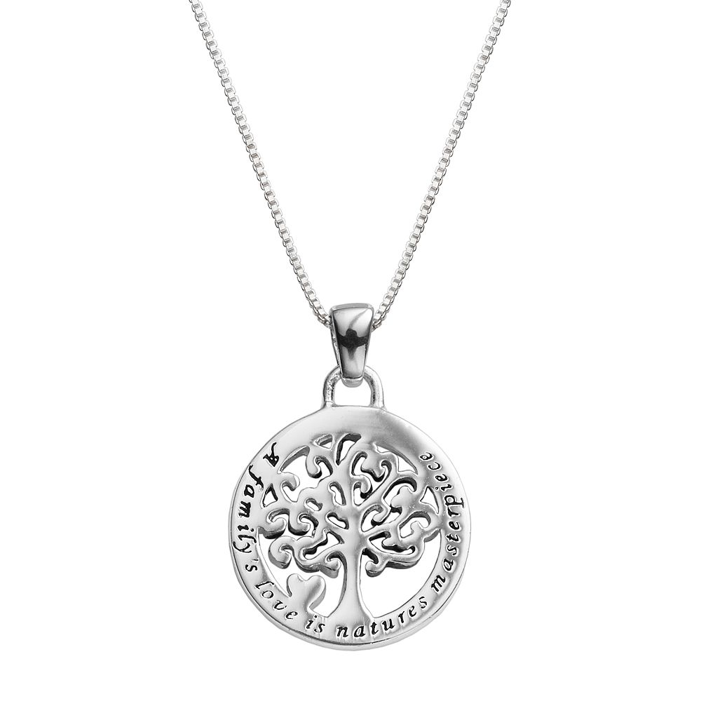 family necklace jewelry pendant dp and gifts my tree pride silver amazon joy com genealogy sterling