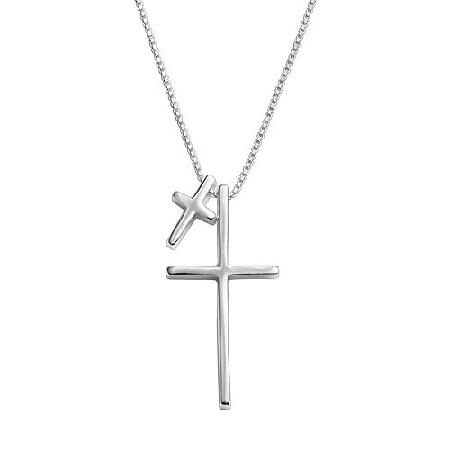 Timeless Sterling Silver Double Cross Pendant