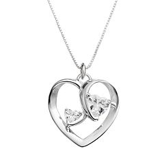 Timeless Sterling Silver Cubic Zirconia 'Two Hearts One Love' Pendant