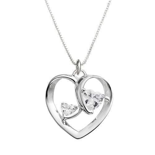"""Timeless Sterling Silver Cubic Zirconia """"Two Hearts One Love"""" Pendant"""