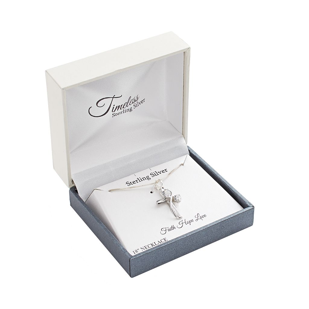 Timeless Sterling Silver Cubic Zirconia Cross Faith Pendant