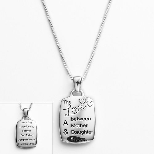 Timeless Sterling Silver Mother Daughter Pendant