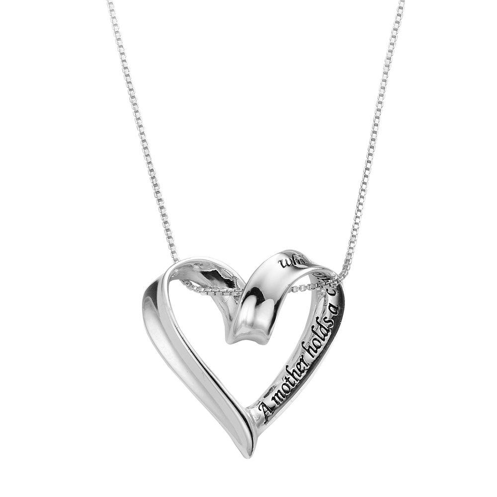 Timeless Sterling Silver Heart Mother Pendant