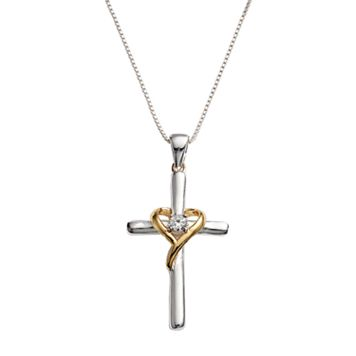 Timeless Sterling Silver Two Tone Cubic Zirconia Cross and Heart Pendant