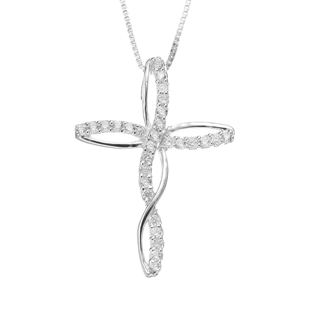 Timeless sterling silver cubic zirconia cross pendant necklace aloadofball Image collections
