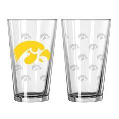 Iowa Hawkeyes 2 pc Allover Logo Pint Glass Set