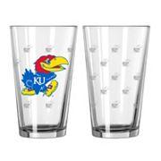 Kansas Jayhawks 2 pc Pint Glass Set