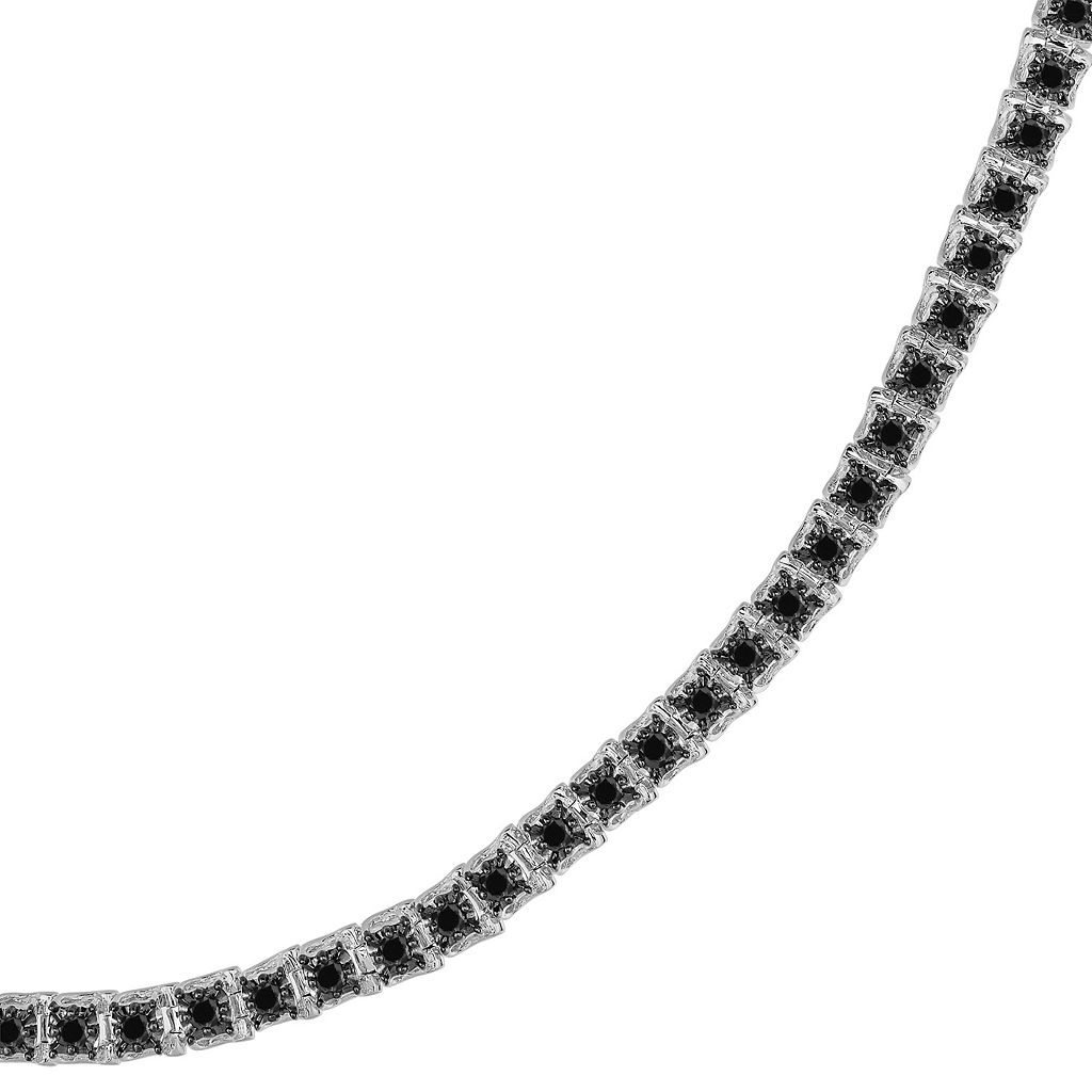 Sterling Silver 3-ct. T.W. Black Diamond Tennis Bracelet