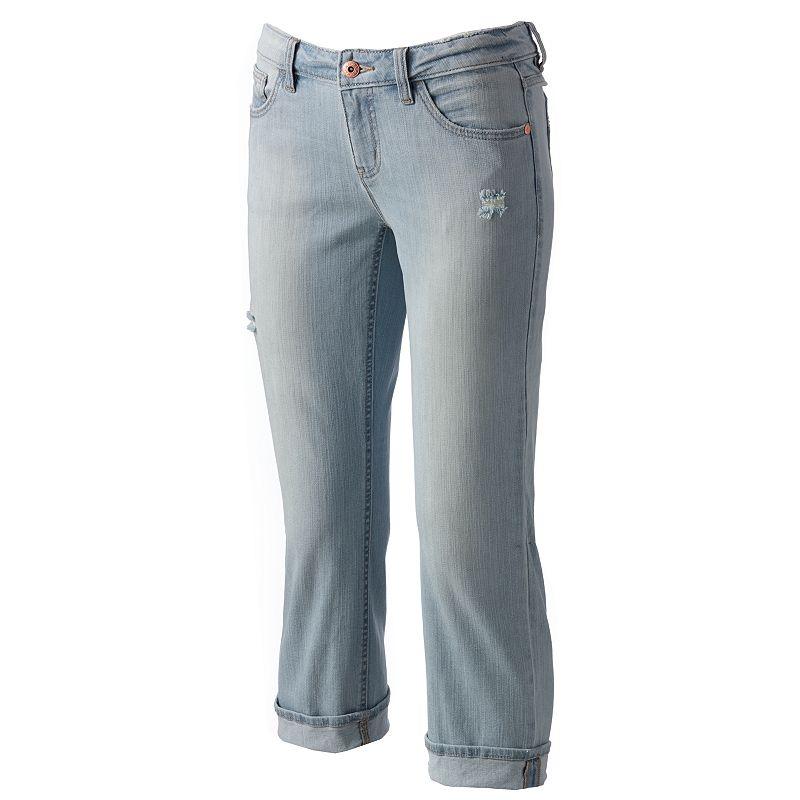 Apt. 9 Modern Fit Distressed Cuffed Denim Capris - Women's Size 2 (Blue)
