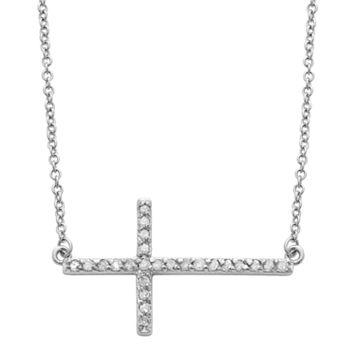 Sterling Silver 1/4-ct. T.W. Round-Cut Diamond Sideways Cross Pendant