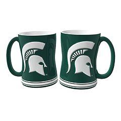 Michigan State Spartans 2 pc Relief Coffee Mug Set