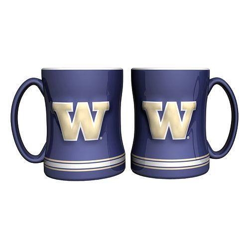 Washington Huskies 2-pc. Relief Coffee Mug Set