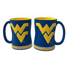 West Virginia Mountaineers 2 pc Relief Coffee Mug Set