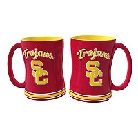 USC Trojans 2 pc Relief Coffee Mug Set