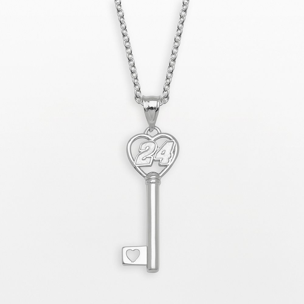 "Insignia Collection NASCAR Jeff Gordon Sterling Silver ""24"" Heart Key Pendant"