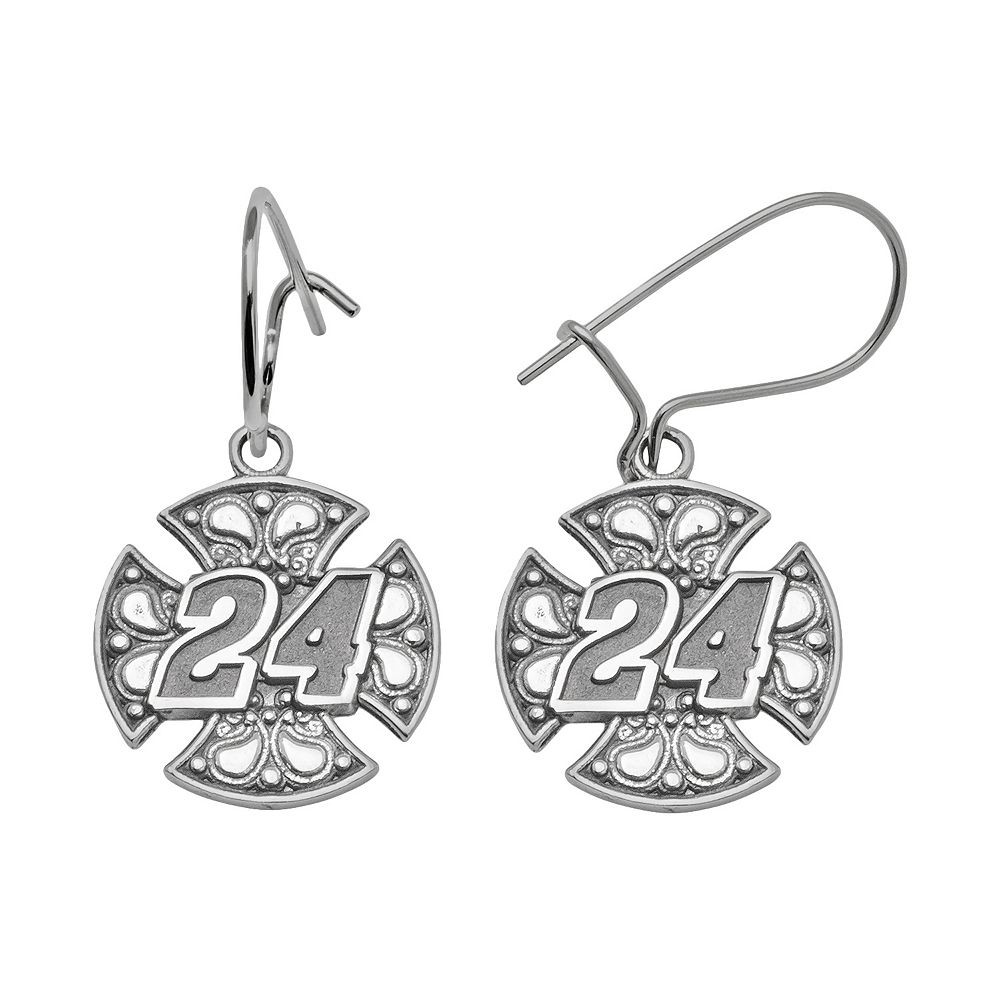 "Insignia Collection NASCAR Jeff Gordon Sterling Silver ""24"" Drop Earrings"