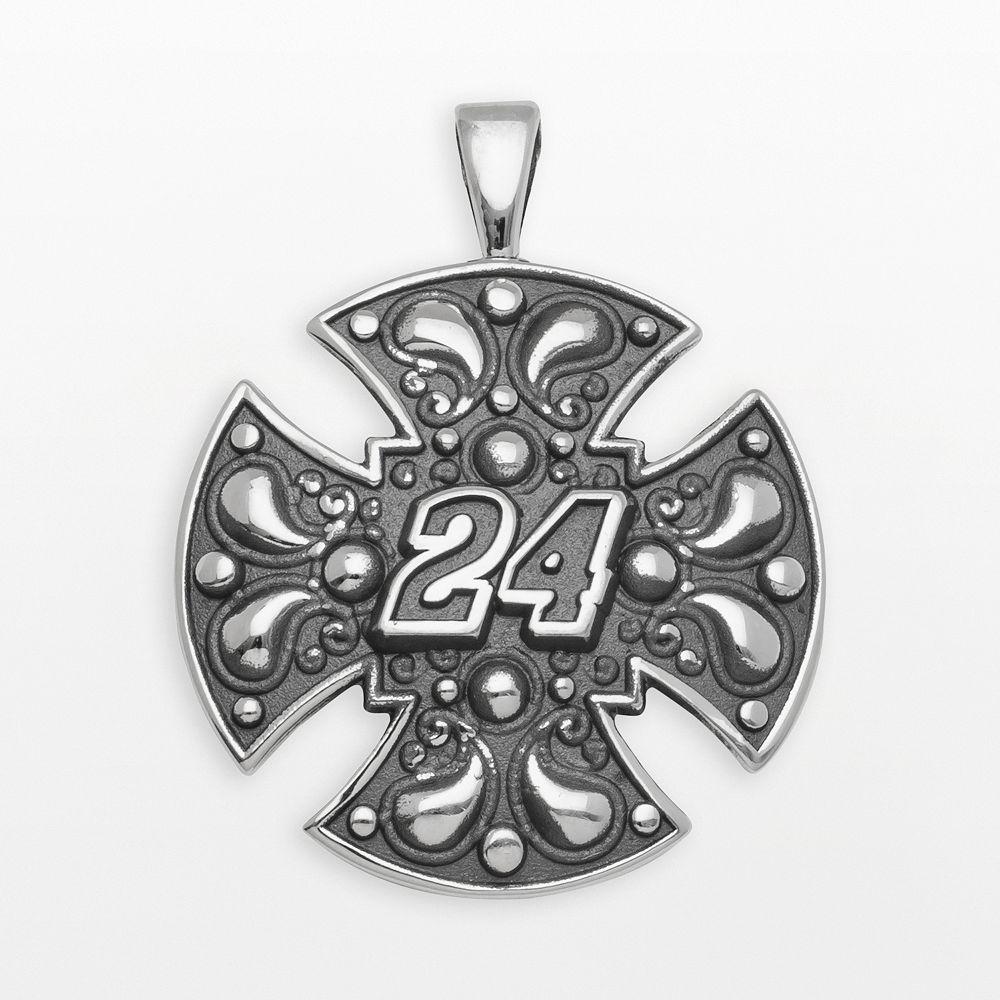 "Insignia Collection NASCAR Jeff Gordon Sterling Silver ""24"" Maltese Cross Pendant"