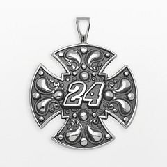 Insignia Collection NASCAR Jeff Gordon Sterling Silver '24' Maltese Cross Pendant