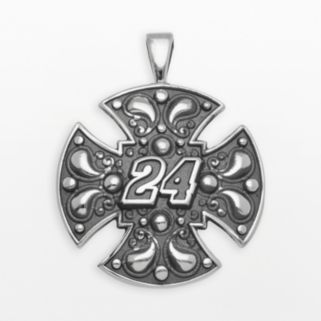 Insignia Collection NASCAR Jeff Gordon Sterling Silver 24 Maltese Cross Pendant