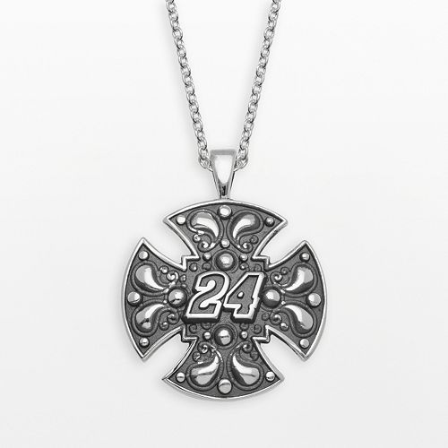 "Insignia Collection NASCAR Jeff Gordon Sterling Silver ""24"" Maltese Cross Pendant"