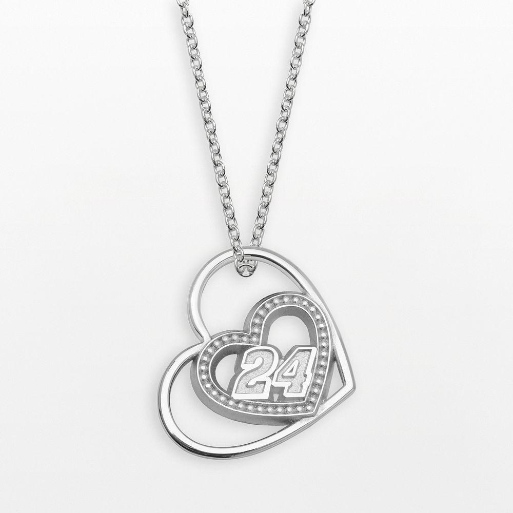 "Insignia Collection NASCAR Jeff Gordon Sterling Silver ""24"" Heart Pendant"