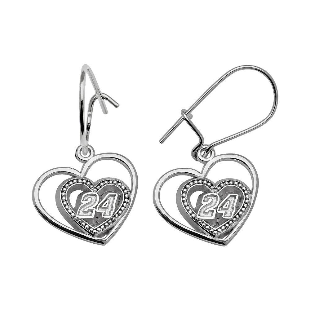 "Insignia Collection NASCAR Jeff Gordon Sterling Silver ""24"" Heart Drop Earrings"