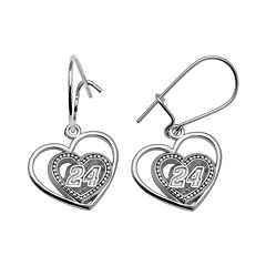 Insignia Collection NASCAR Jeff Gordon Sterling Silver '24' Heart Drop Earrings