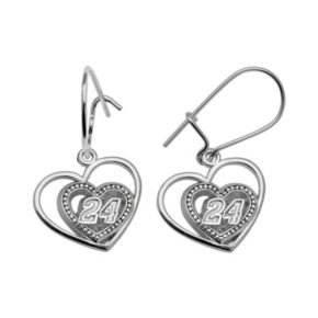 Insignia Collection NASCAR Jeff Gordon Sterling Silver 24 Heart Drop Earrings