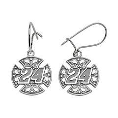 Insignia Collection NASCAR Jeff Gordon Sterling Silver '24' Maltese Cross Drop Earrings