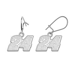 Insignia Collection NASCAR Jeff Gordon Sterling Silver '24' Drop Earrings