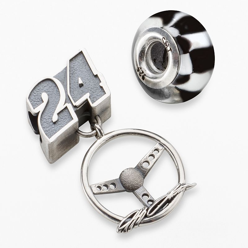 Insignia Collection NASCAR Jeff Gordon Sterling Silver 24 Steering Wheel Charm and Bead Set