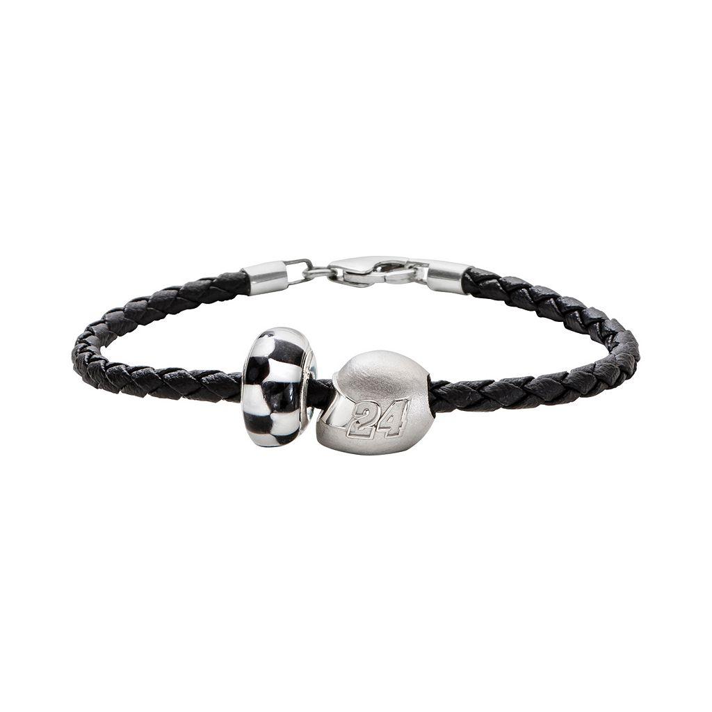 Insignia Collection NASCAR Jeff Gordon Leather Bracelet & Sterling Silver