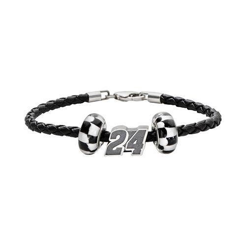 "Insignia Collection NASCAR Jeff Gordon Leather Bracelet & Sterling Silver ""24"" Bead Set"