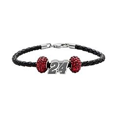 Insignia Collection NASCAR Jeff Gordon Leather Bracelet & Sterling Silver '24' Bead Set