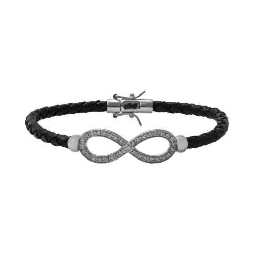Sterling Silver and Leather 1/4-ct. T.W. Round-Cut Diamond Infinity Bracelet