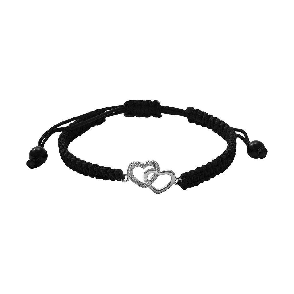 Sterling Silver 1/10-ct. T.W. Round-Cut Diamond Heart Bracelet
