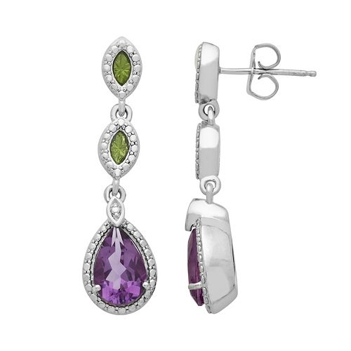 Chloe & Zoe Sterling Silver Amethyst Linear Drop Earrings