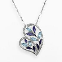 Chloe & Zoe Sterling Silver Swiss Blue Topaz Leaf Heart Pendant