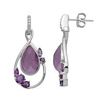 Chloe & Zoe Sterling Silver Amethyst & White Quartz Teardrop Earrings