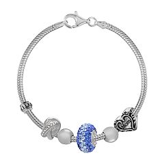 Individuality Beads Sterling Silver Snake Chain Bracelet & Crystal, 'Mom' Heart & Love Knot Bead Set - 7.5-in.