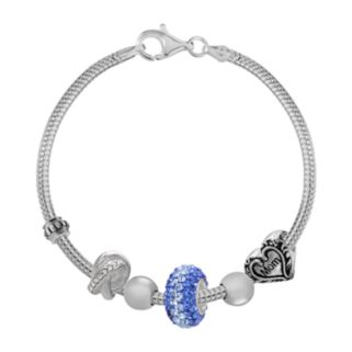 Individuality Beads Sterling Silver Snake Chain Bracelet and Crystal, Mom Heart and Love Knot Bead Set - 7.5-in.