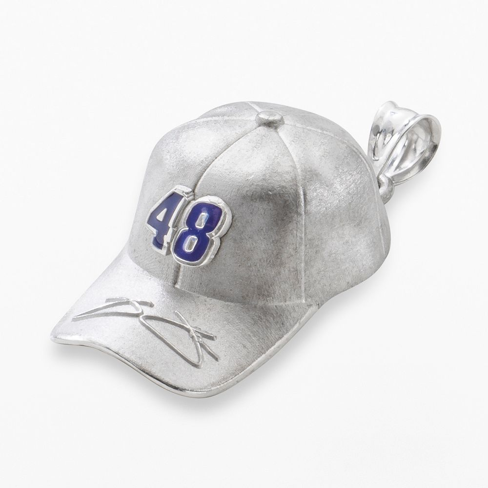 """Insignia Collection NASCAR Jimmie Johnson Sterling Silver """"48"""" Baseball Cap Pendant"""