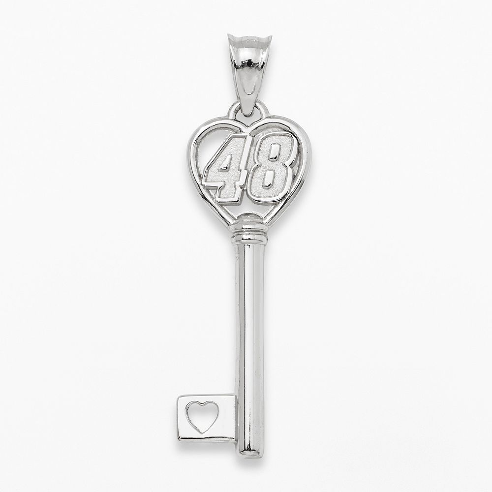 "Insignia Collection NASCAR Jimmie Johnson Sterling Silver ""48"" Heart Key Pendant"