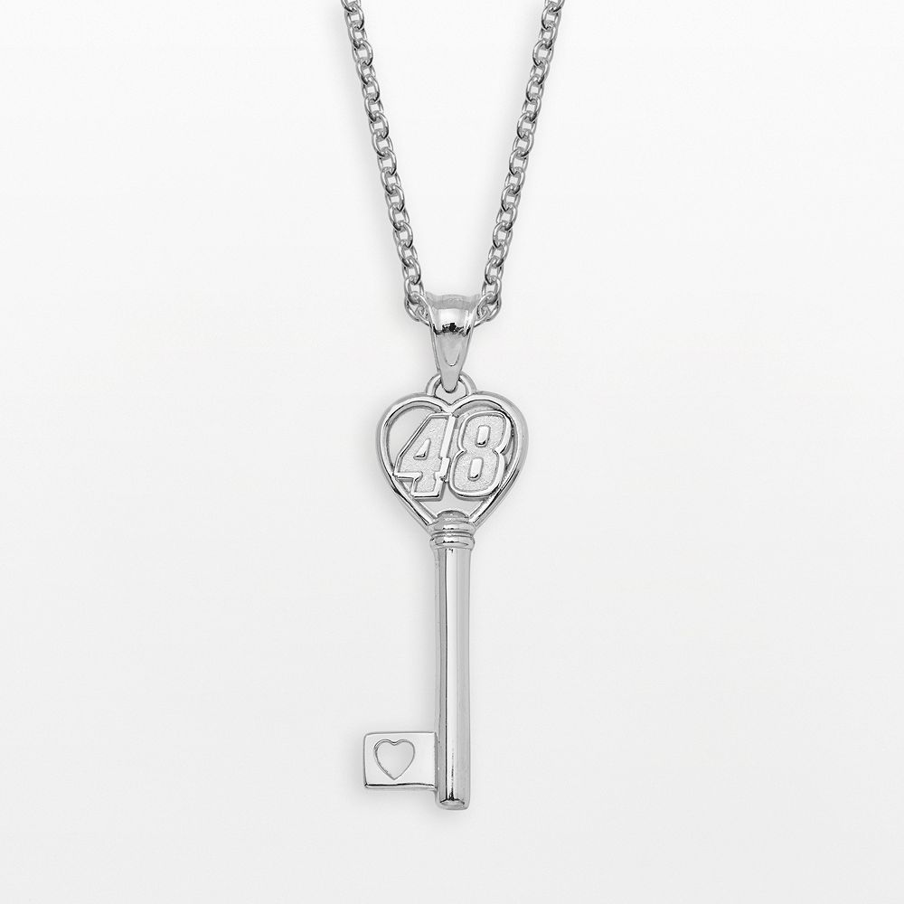 """Insignia Collection NASCAR Jimmie Johnson Sterling Silver """"48"""" Heart Key Pendant"""