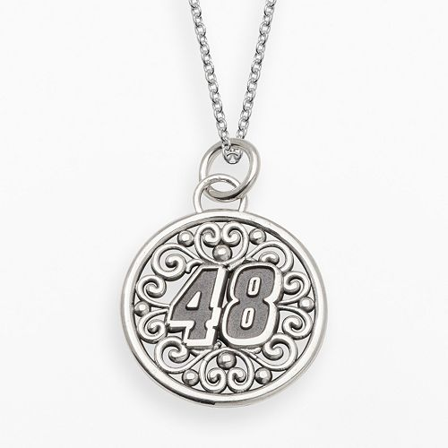 "Insignia Collection NASCAR Jimmie Johnson Sterling Silver ""48"" Pendant"
