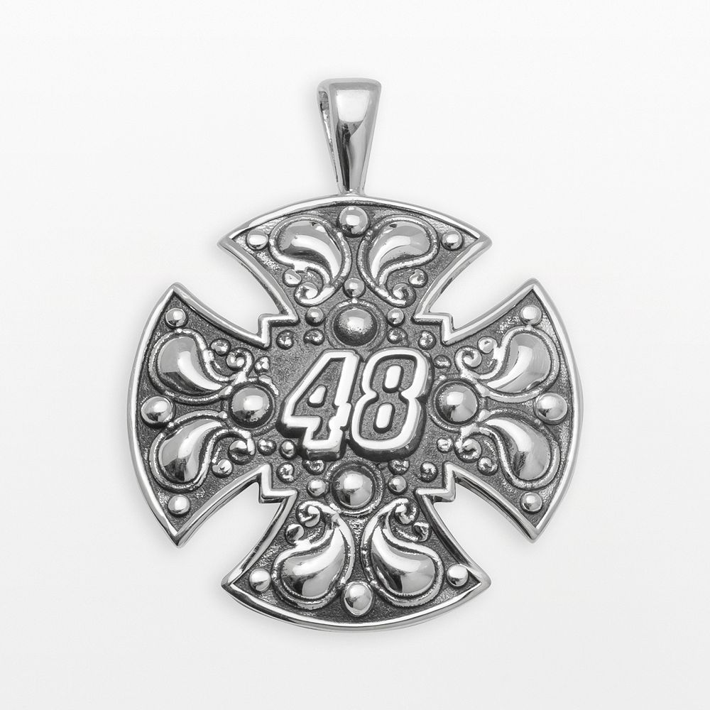 "Insignia Collection NASCAR Jimmie Johnson Sterling Silver ""48"" Maltese Cross Pendant"