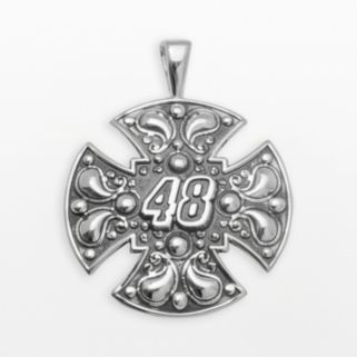 Insignia Collection NASCAR Jimmie Johnson Sterling Silver 48 Maltese Cross Pendant