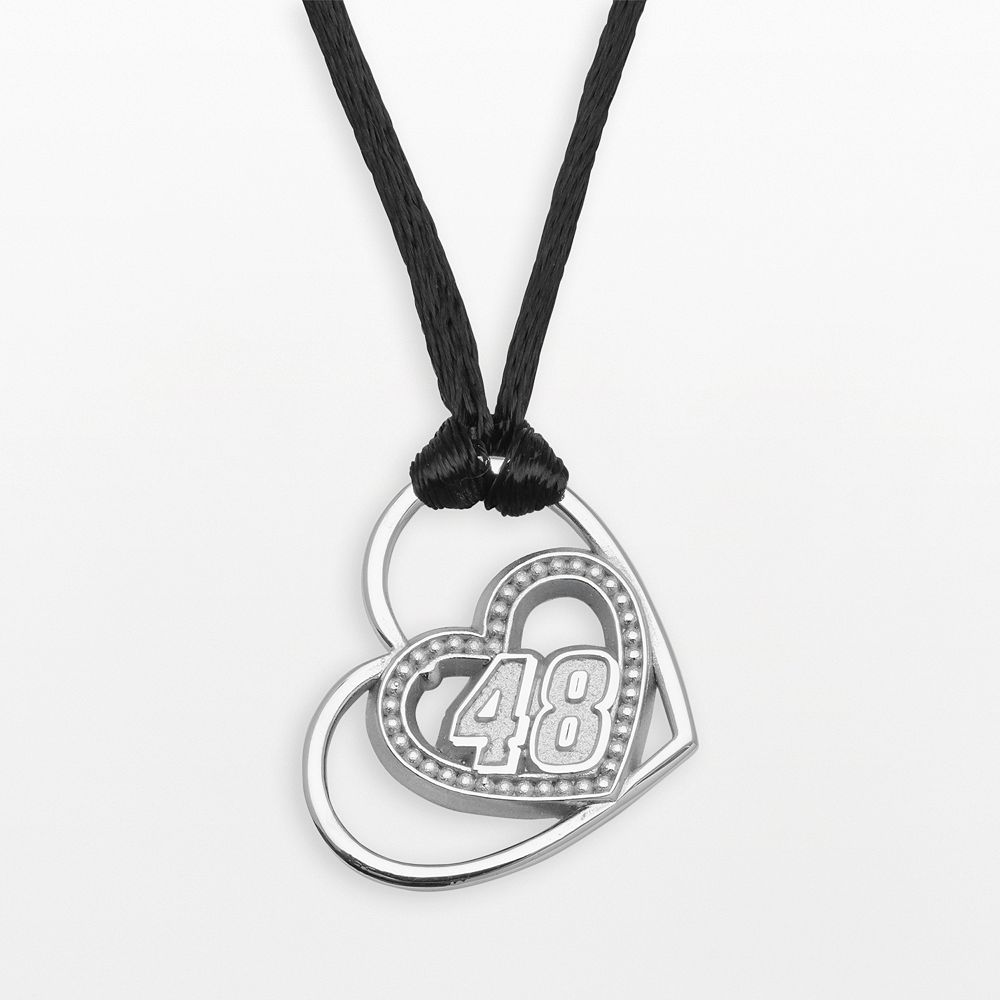 "Insignia Collection NASCAR Jimmie Johnson Sterling Silver ""48"" Heart Pendant"