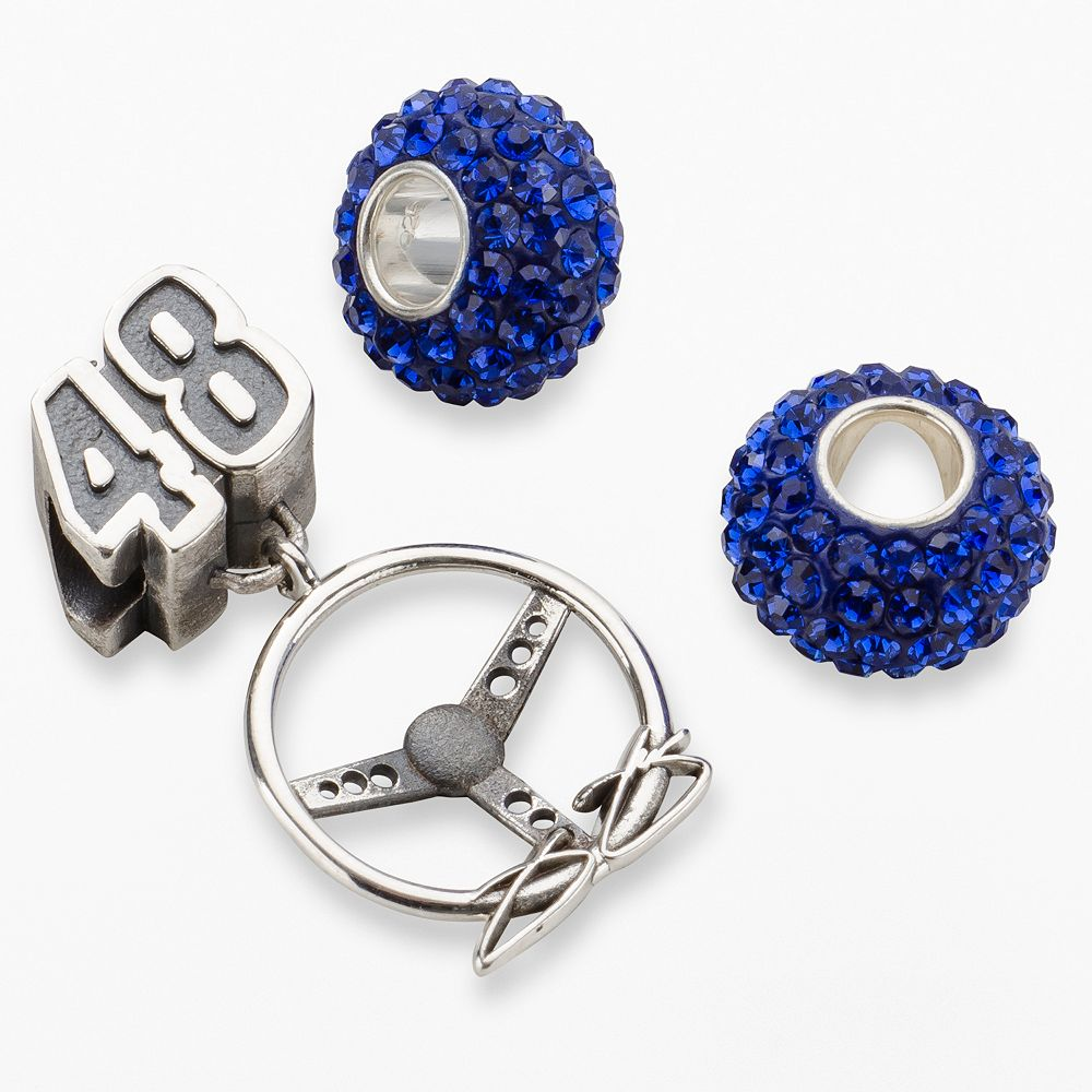 "Insignia Collection NASCAR Jimmie Johnson Sterling Silver ""48"" Steering Wheel Charm & Bead Set"